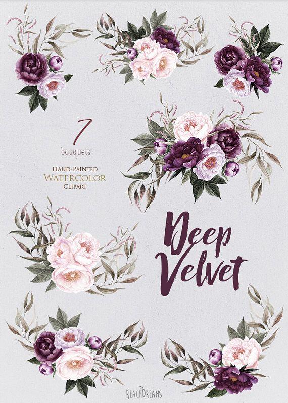 Peonies Flowers Watercolor Purple Pink Floral Burgundy Violet