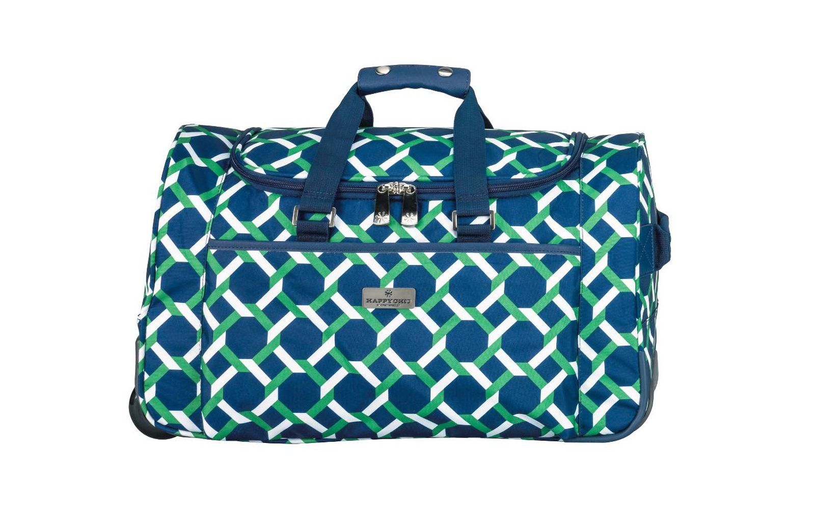 79897ba705f Happy Chic by Jonathan Adler Rolling Duffel Bag in Green Navy Lattice