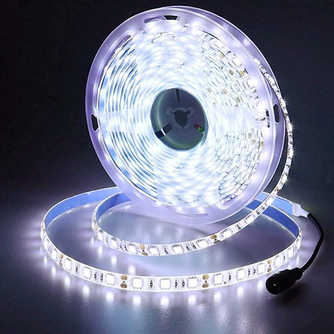 Amazon Com Joylit 12v Led Strip Light 16 4ft 6500k Daylight White 300leds 5050smd Ip65 Waterproof Flex Led Strip Lighting 12v Led Strip Lights Led Rope Lights