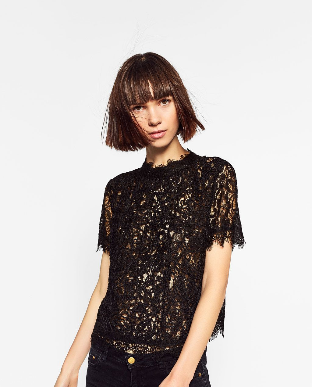 d8140e10992b62 CAMISETA ENCAJE BORDADO | WoW Clothes | Zara lace top, Lace tops ...