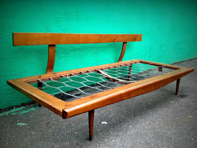 ON HOLD - Vintage mid century modern day bed sofa frame   Pinterest ...