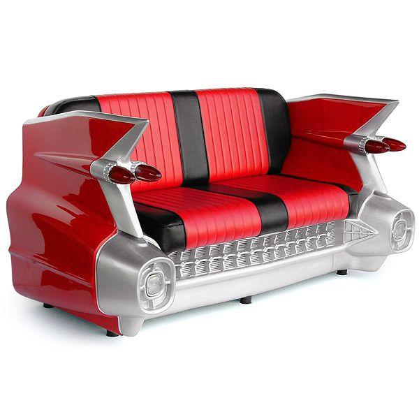 Superb Car Sofa 1959 Cadillac Car Sofa 59 Cadillac Car Couch Red And Black Good Looking