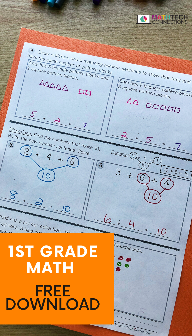 Free 1st Grade Math Worksheets Guided Math Math Assessment 1st Grade Math [ 1400 x 800 Pixel ]