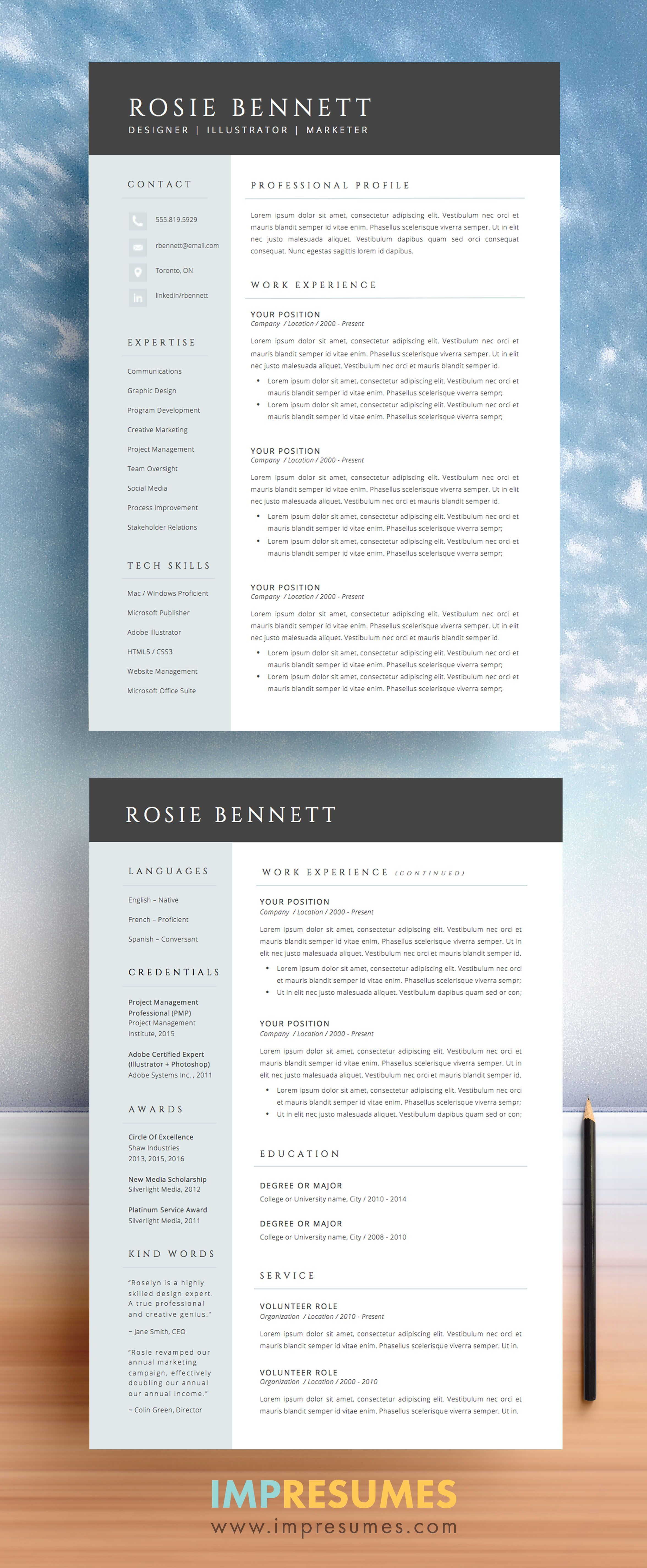 4 Page Resume Template Package For Microsoft Word