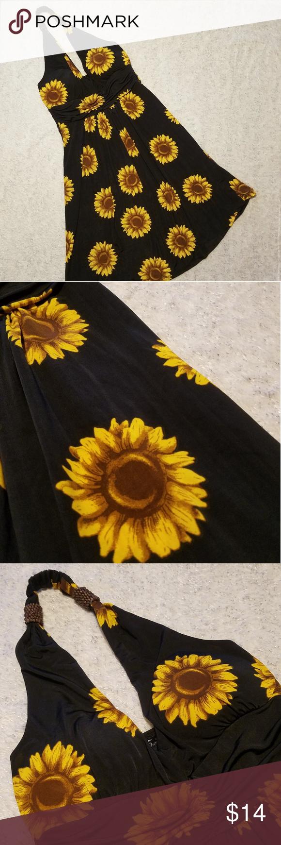 Sunflower Floral Print Halter Dress Trendy Dresses Summer Casual Dresses Trendy Dresses [ 1740 x 580 Pixel ]