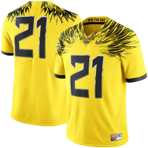 new style 32d3c ec60a Nike #21 Oregon Ducks Yellow Limited Football Jersey ...