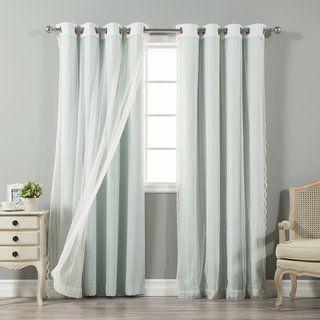 Aurora Home Mix Match Blackout And Zigzag Lace 4 Piece Curtain
