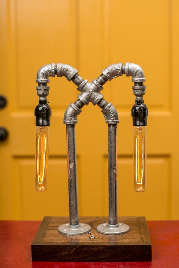 Custom Made Wood Base Galvanized Pipe Cross By