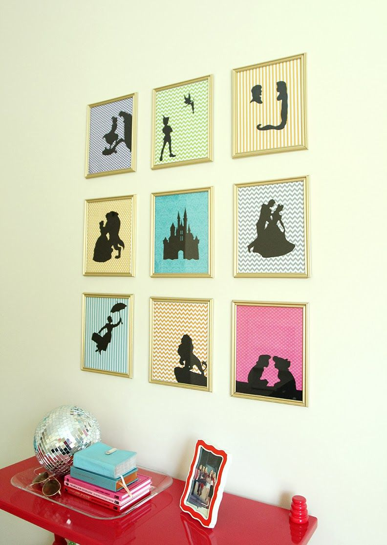 Gallery Wall Of Disney Silhouettes Plain Gold Frames