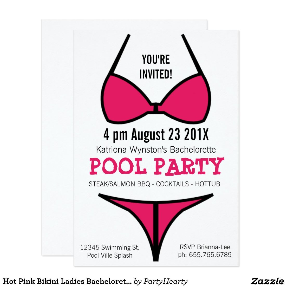 Hot Pink Bikini Ladies Bachelorette Party Invitation