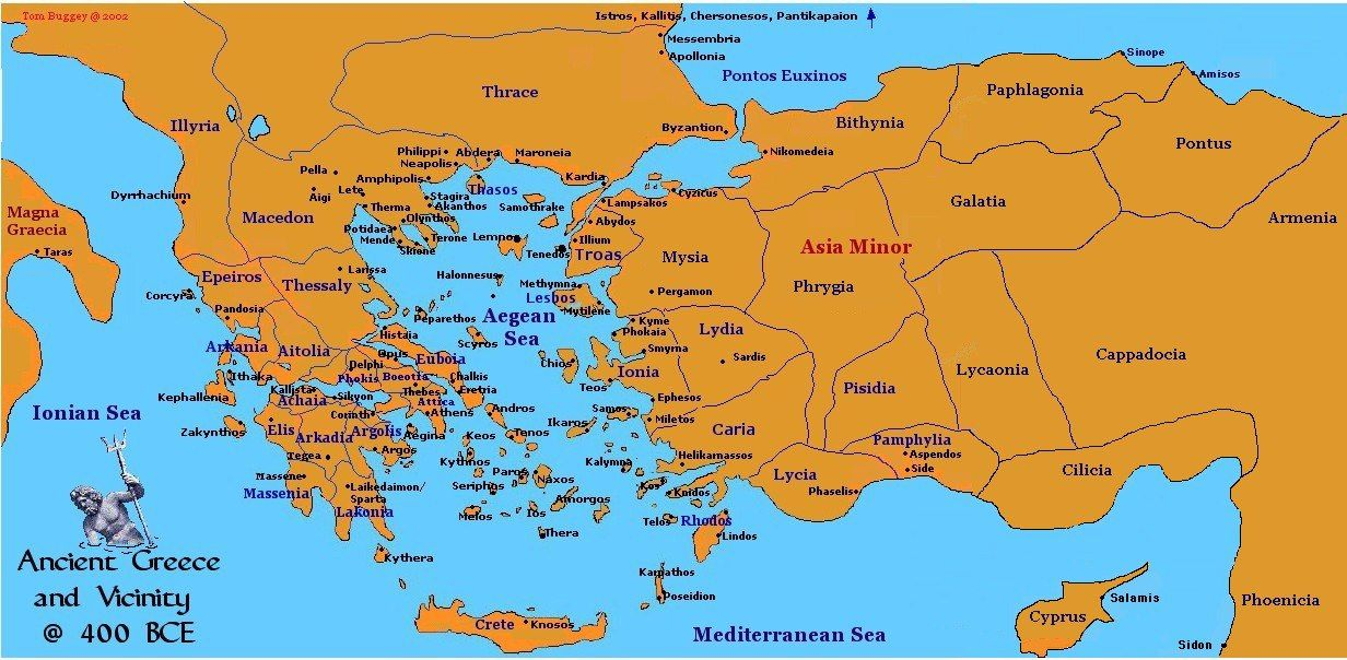 Map Of Ancient Greece 400 Bce Mainland And Greek Minor Asia