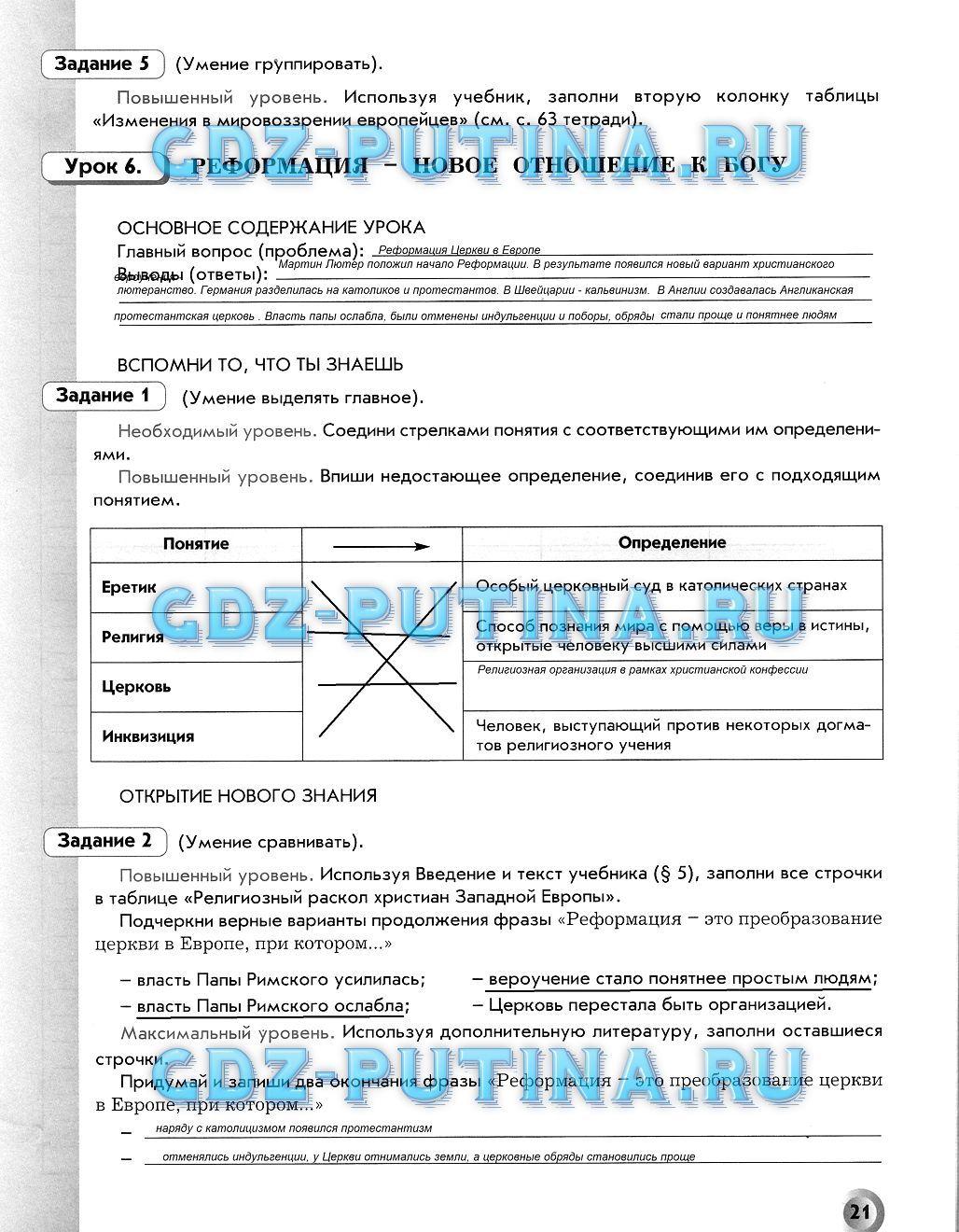 Гдз по печатнои тетради данилова по историй росий