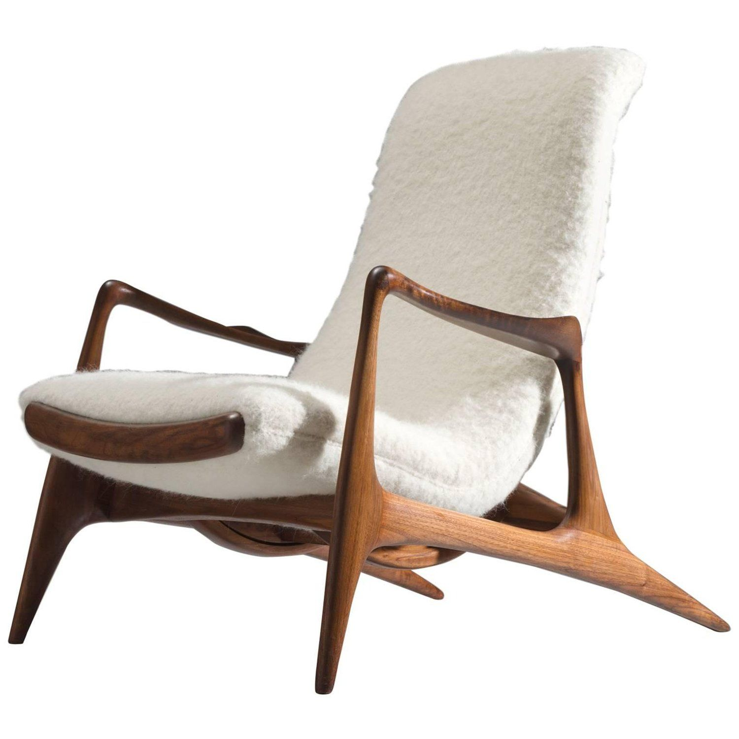 Contour Chair Lounge Vladimir Kagan Walnut Contour Chair Reupholstered In Wool My