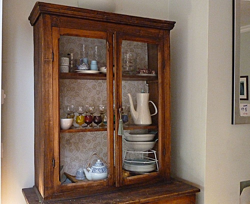 wallpaper inside glass cabinet- idea for corner kitchen cabinet | For the Home | Pinterest ...