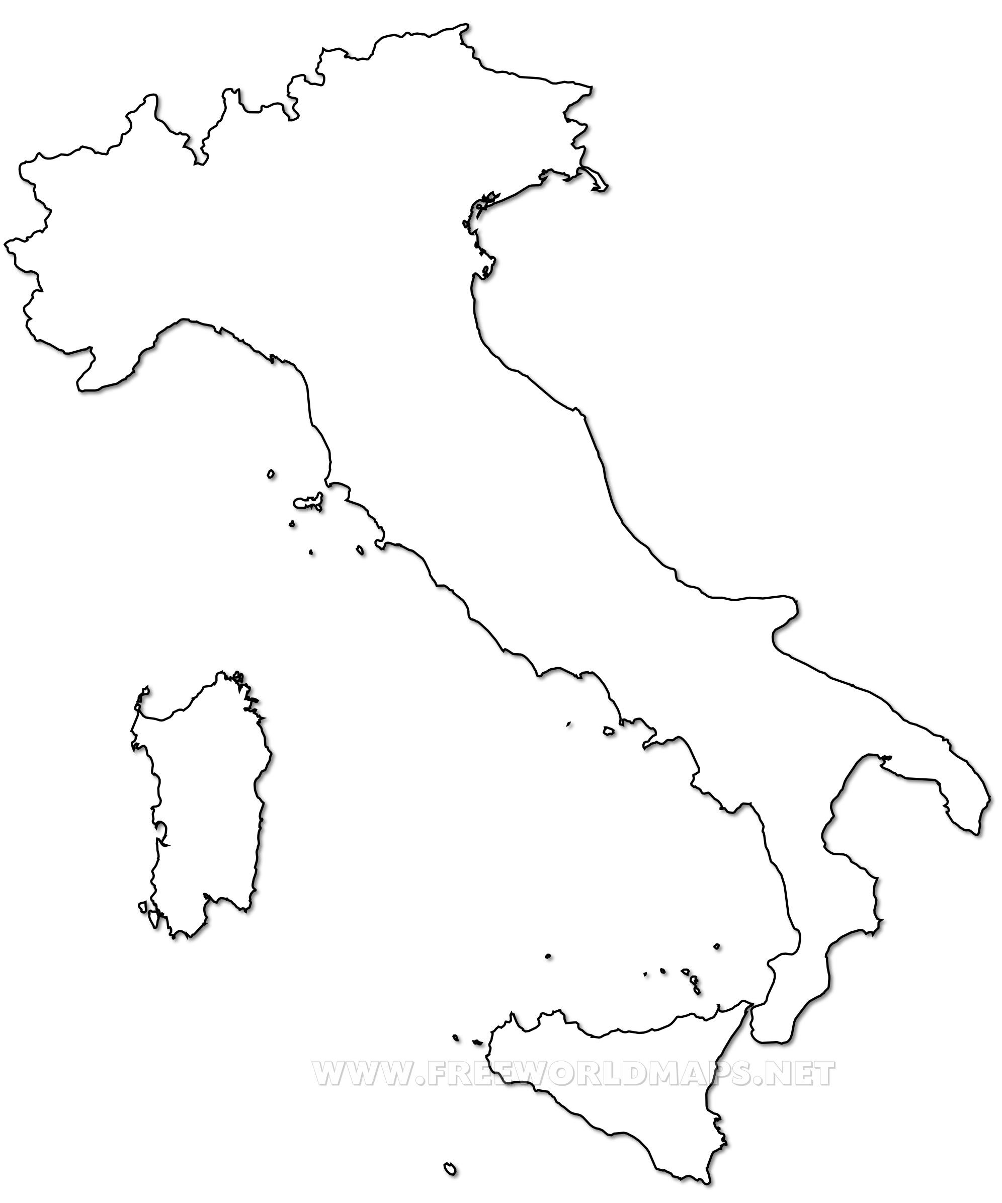 Map Of Italy Simple.Outline Map Of Italy Printable With Italy Political Map