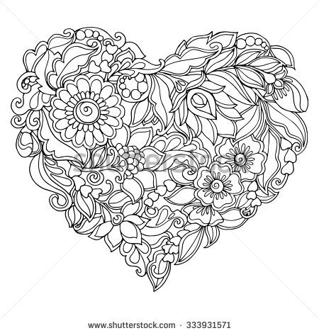 Coloring Book For Adult And Older Children Coloring Page With Vintage Flowers Heart Coloring Pages Abstract Coloring Pages Pattern Design Drawing