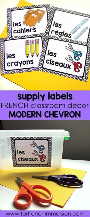 French Classroom Decor Modern Chevron classroom supply labels in color and Bu0026W. A beautifully  sc 1 st  Pinterest & French Classroom Decor Modern Chevron   French classroom decor ...