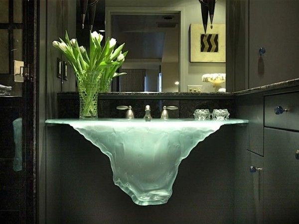 Glassworks sink in bathroom. Dramatic ... very cool & Unique.