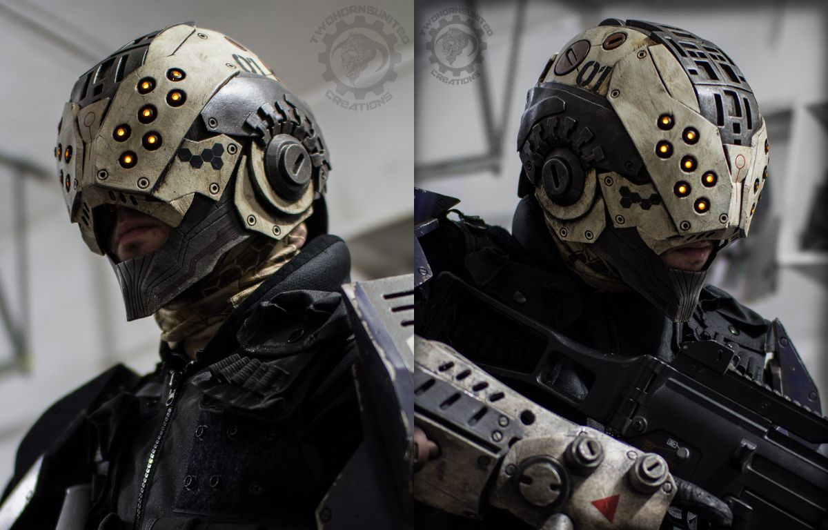 The Enforcer - Cyberpunk tactical LED Helmet by