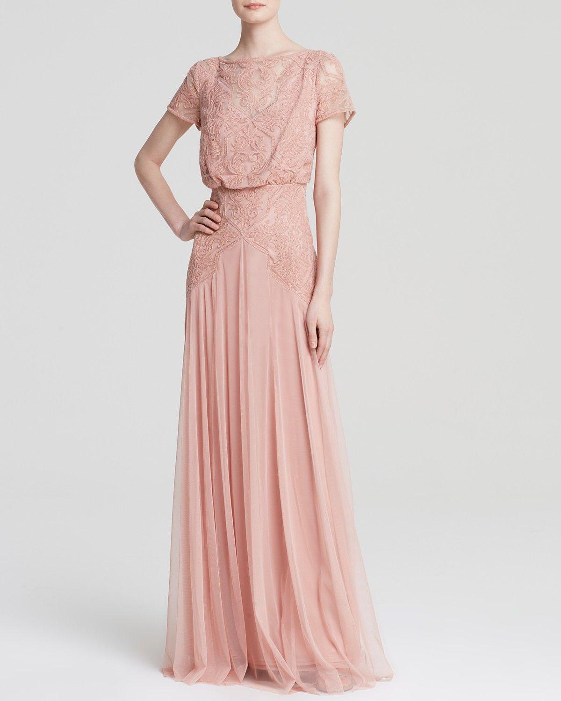 Tadashi Shoji Gown - Cap Sleeve Lace Chiffon Blouson ...