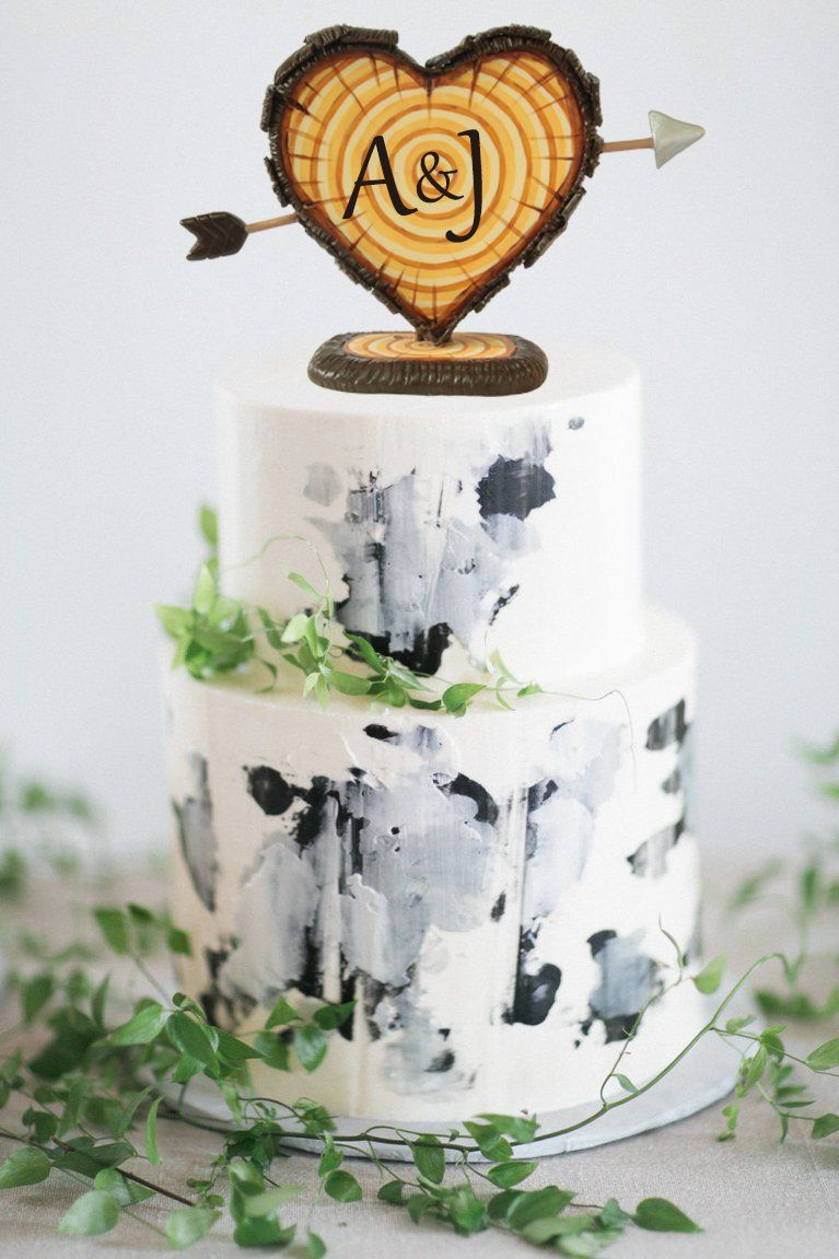 Rustic wedding cake topper personalized cake topper cake