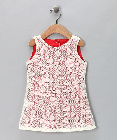 Take a look at this Ivory & Red Lace Dress - Infant, Toddler & Girls by Dolce Girl on #zulily today!
