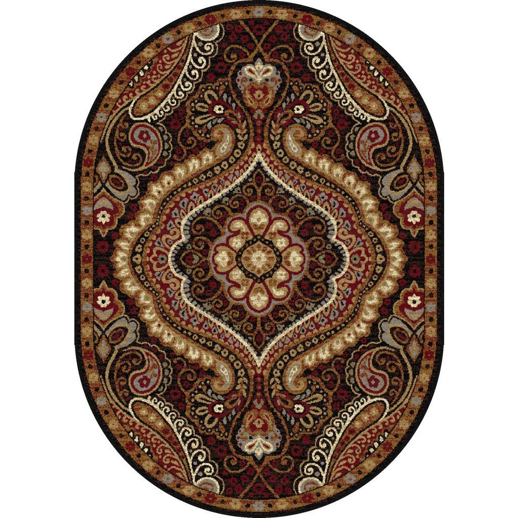 Alise Rhythm Ivory and Black Paisley Area Rug (5'3 x 7'3 Oval) - Overstock Shopping - Great Deals on Alise Rugs Round/Oval/Square