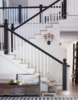 Black Rail And White Spindles With White Washed Hardwood Floors | Black Banister White Spindles | Black Railing | Wainscoting | White Painted Riser | Benjamin Moore Stair Railing | Baluster Curved Stylish Overview Stair