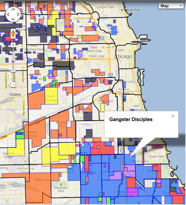 Chicago Gang Map South Side  Chicago Map