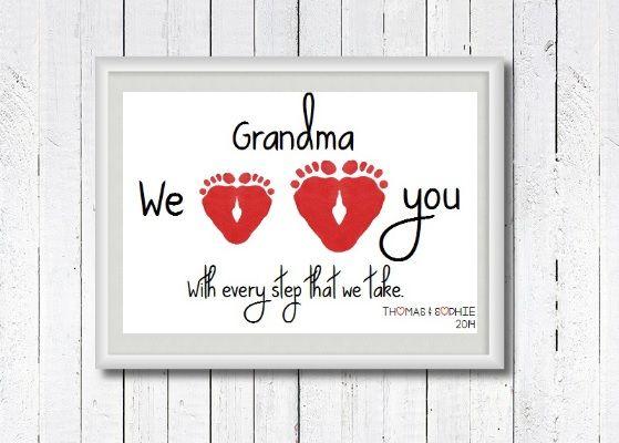 Baby Footprint Art Footprints Keepsake Gift Nursery Print Personalised New Grandma Grandad