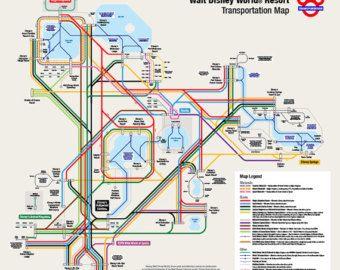 Walt Disney World Transportation Map in Metro Style | Disney World ...