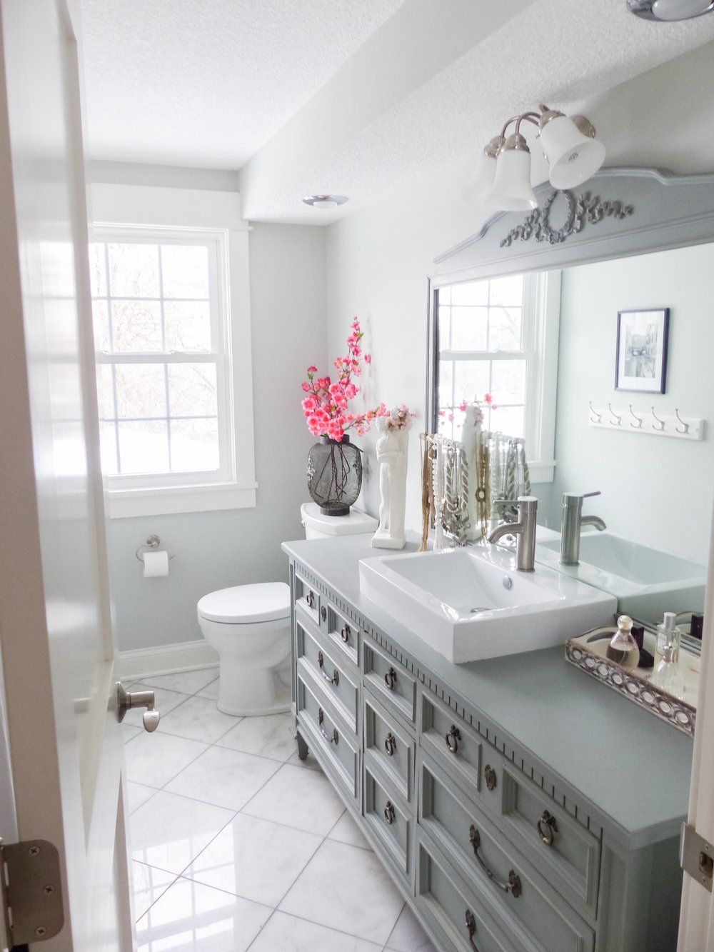budget friendly bathroom makeover  styled with lace  diy