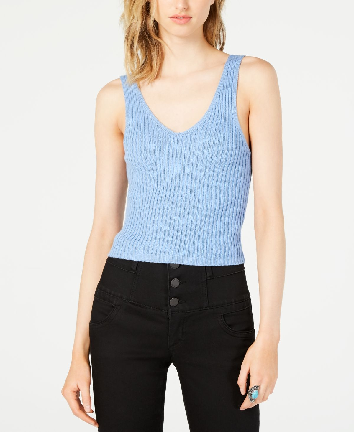 New Womens Ladies V Neck Ribbed Strappy Knitted Sleeveless Bralet Crop Vest Top