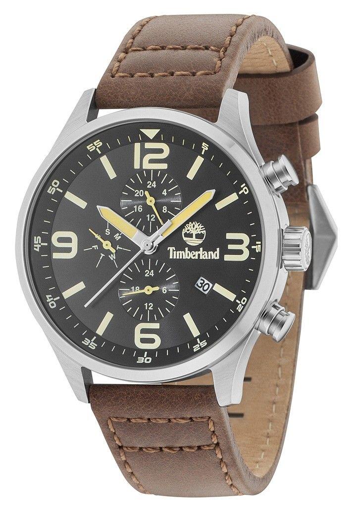 904f4553995 Timberland horloge Rutherford staal leder 48 mm 15266JSB 02. Stoer en  sportief vormgegeven