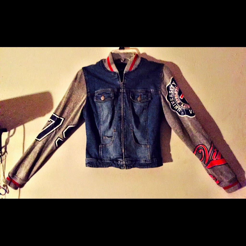 Vintage letterman style jean jacket products
