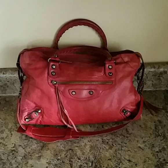 f4f69a6b10 BALENCIAGA Raspberry Red Classic City Satchel Bag 100% AUTHENTIC good pre- owned condition!