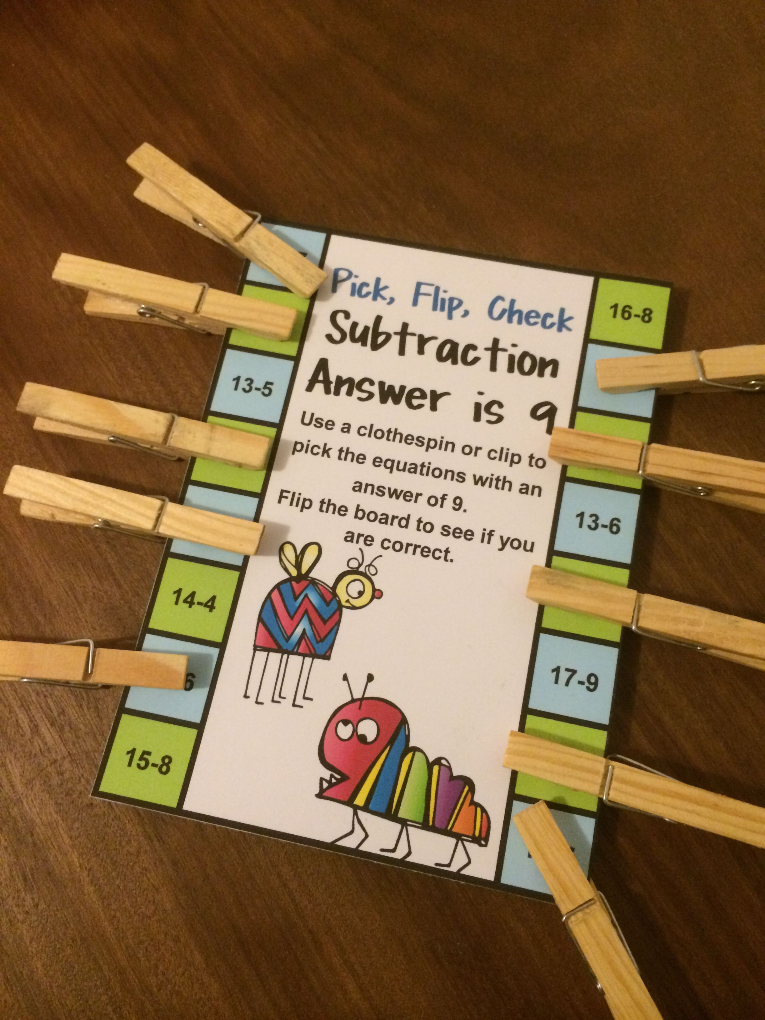 Subtraction Activity Pick Flip Check Cards For
