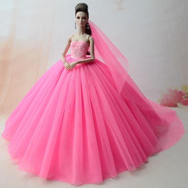 Nk Doll Dress High Quality Handmade Long Tail Evening Gown Clothes Lace Wedding Veil