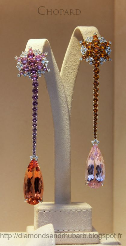 Ear pendants by Chopard,  1 Place Vendôme, Paris, October, 2012. Each pear-shaped stone is about 1 1/8 l long  or approximately 30 mm.  I love color especially in magnificent semi-precious stones.  Rare  pink, and peachy/orange-topaz are  favorites of mine. Orange topaz, also known as precious topaz. Imperial topaz is pink, and it is extremely rare, if  it is natural. (not heat treated)