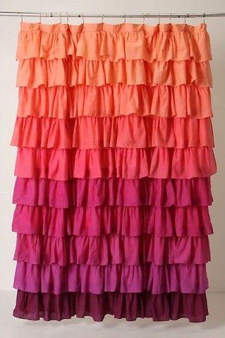 Gradient Orange Coral Magenta To Plumb Ruffled Curtain