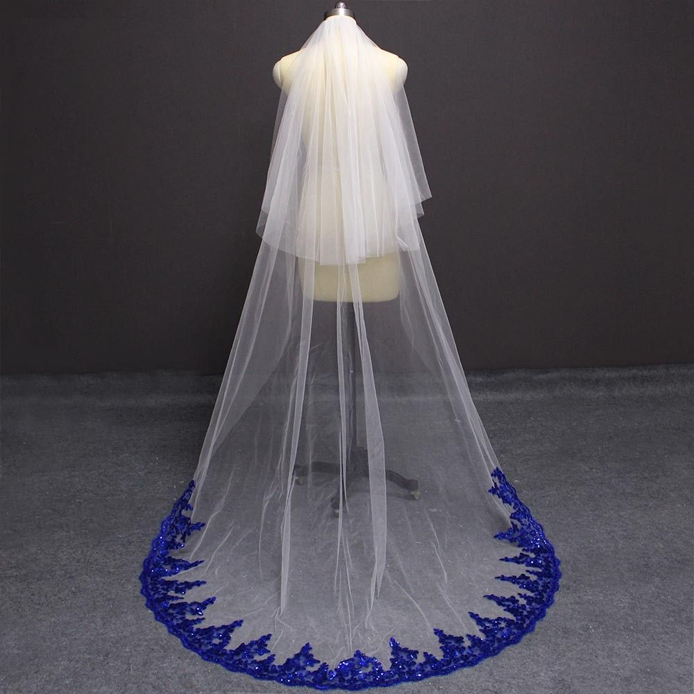 Two Tier Ivory Or White Wedding Veil With Royal Blue Sequined Lace Trim Blue Wedding Dress Royal Royal Blue Wedding Theme Royal Blue Lace