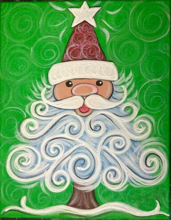 15 easy canvas painting ideas for christmas christmas for Easy christmas paintings on canvas