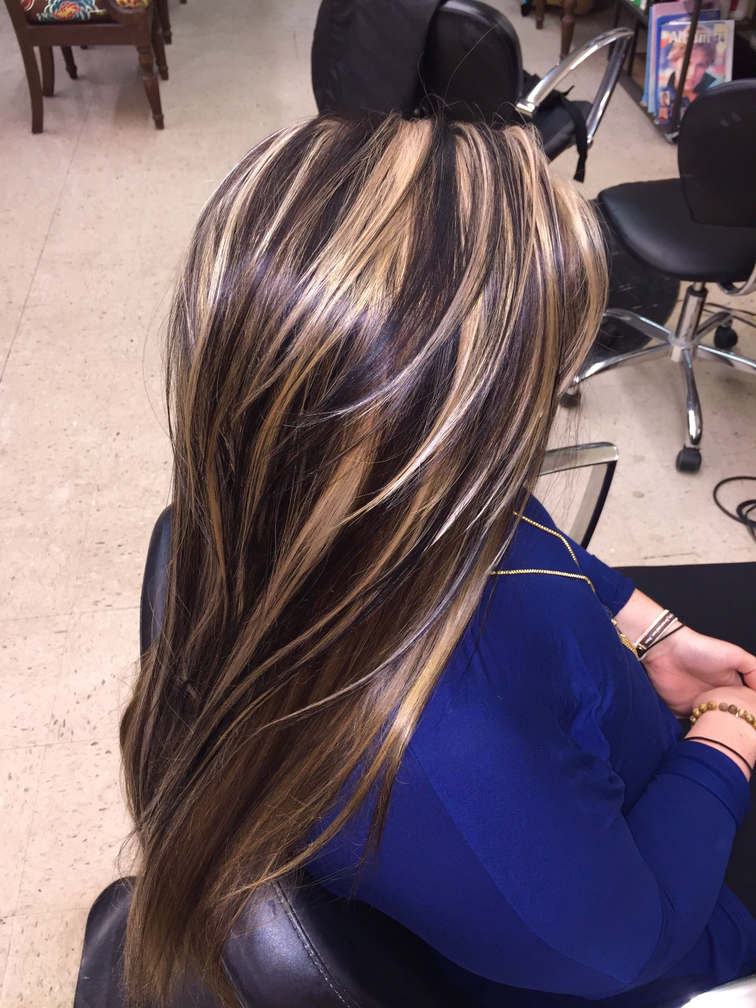 Chunky highlights lowlights hair artes updos pinterest