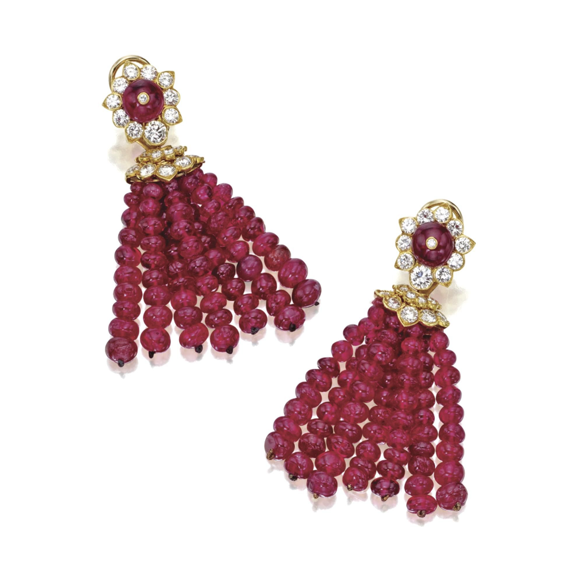 Van cleef amp arpels vca 18k yellow gold ruby cabochon amp diamond - Pair Of Ruby Bead And Diamond Tassel Earclips Van Cleef Arpels New York