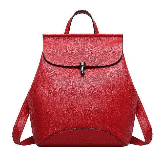 Women Genuine Leather Backpacks, Blue, Red, Violet, Black, Grey, Blue Fashion Bags