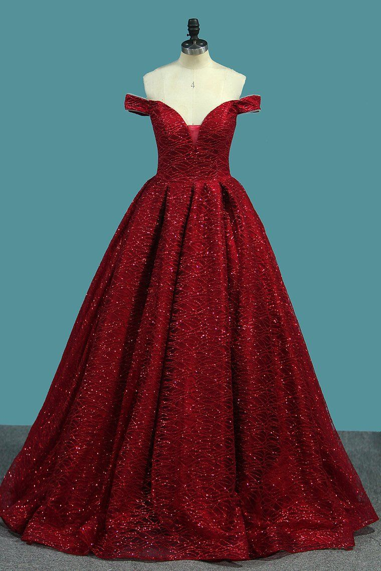 9ddccdfbae Sparkly Princess Red Off-The-Shoulder Ball Gown Prom Dress OP358 in ...