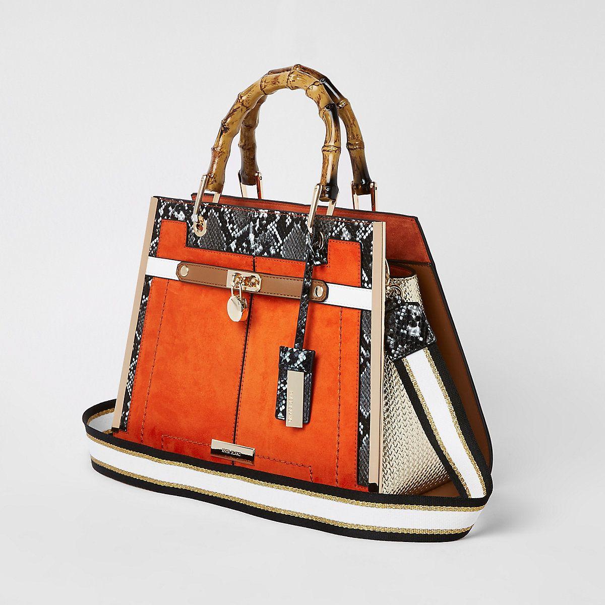 ed28de900 Orange lock front bamboo handle tote bag - Shopper & Tote Bags - Bags &  Purses - women