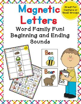 Magnetic Letters Clipart : magnetic, letters, clipart, Beginning, Ending, Sounds, Families, Magnetic, Letters, Center!, Families,, Work,