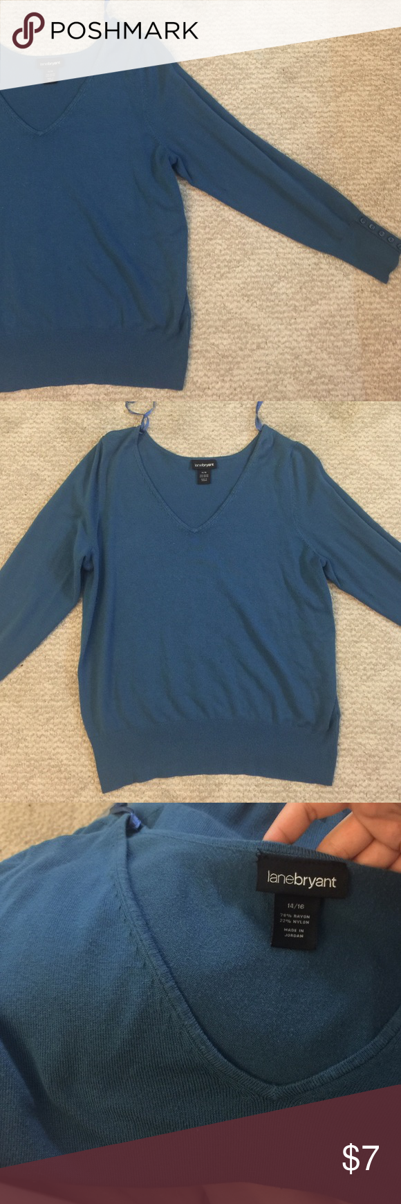 Blue sweater Slight piling but nothing noticeable or damaging. Bundle for discounts. 14/16 Lane Bryant Sweaters V-Necks