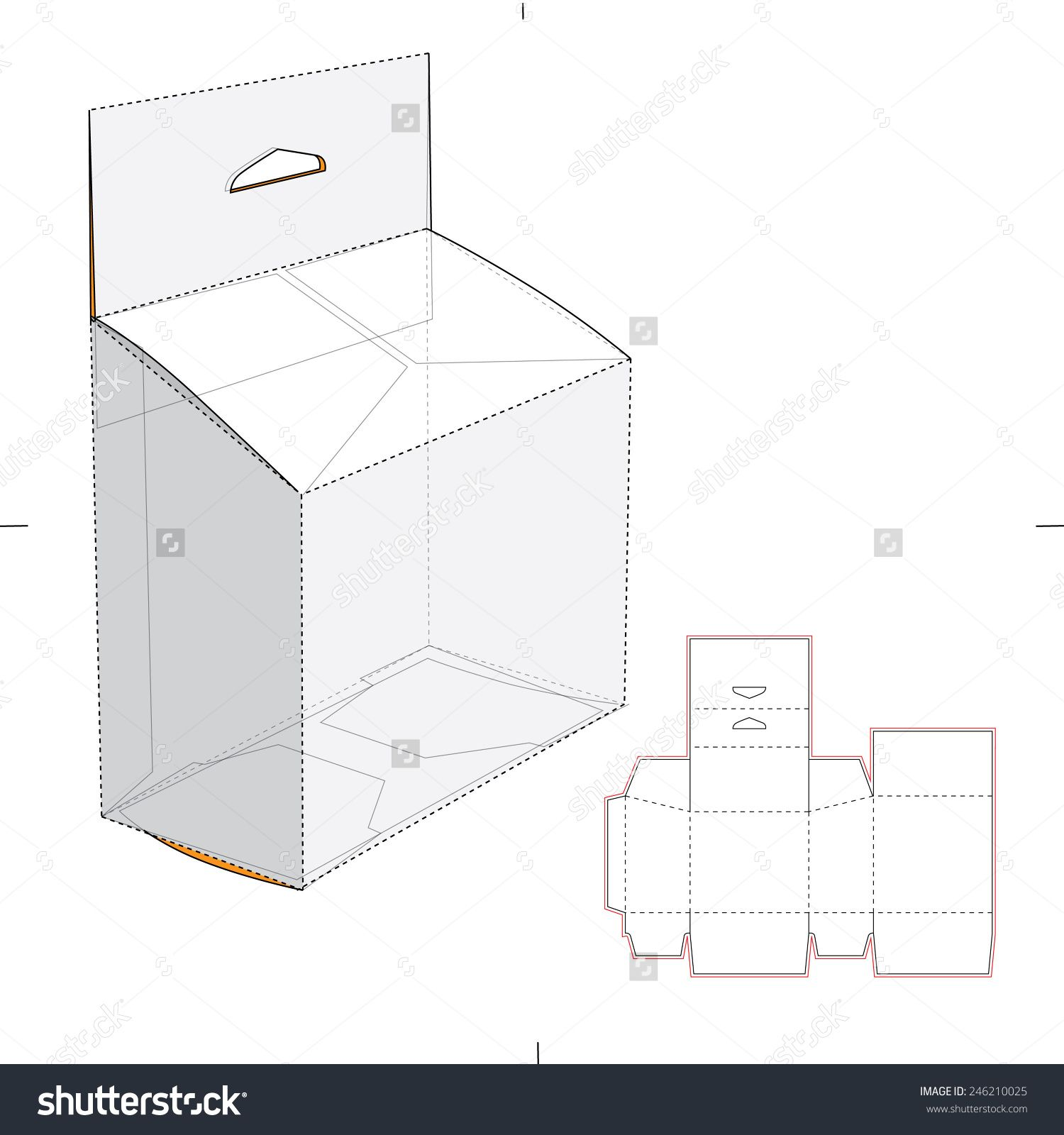 Slanted Box With Hang Tag And Die Cut Template Stock Vector